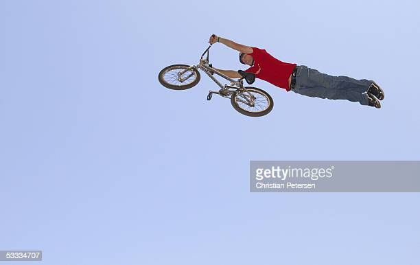 J Lavin performs a superman in the BMX Freestyle Dirt warm ups at the ESPN X Games 11 on August 6 2005 at Home Depot Center in Carson California