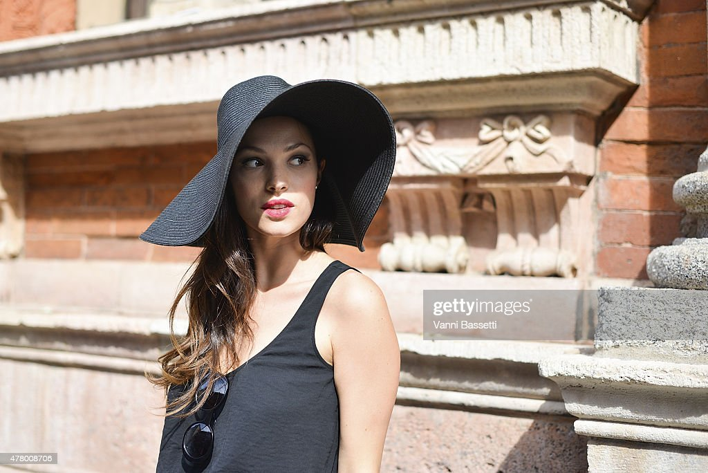 Lavinia Biancalani poses wearing a Banana Republic dress on June 21 2015 in Milan Italy