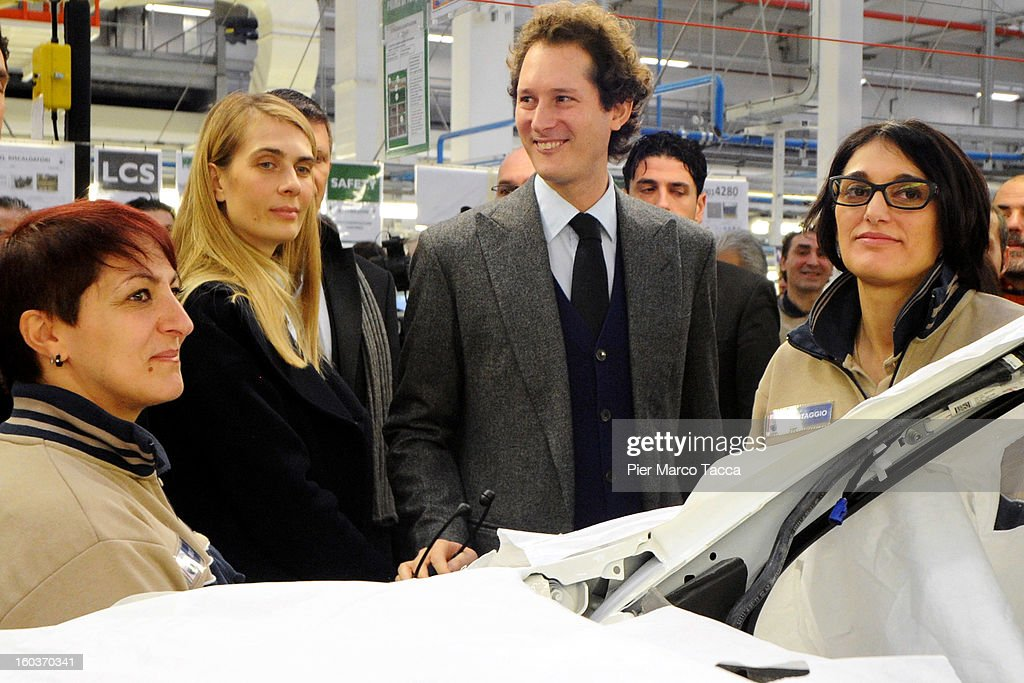 Lavinia Borromeo and President of FIAT John Elkann attend the unveiling of the new Maserati plant in Grugliasco, which has been dedicated to Gianni Agnelli on January 30, 2013 in Turin, Italy. The new plant near the company's headquarters in Turin will produce Maserati's new model of luxury saloon cars, the Quattroporte.