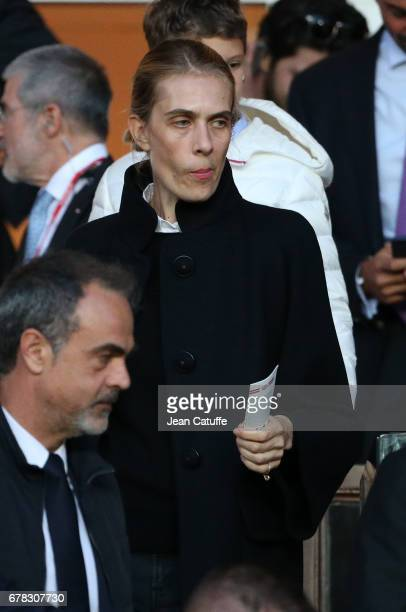 Lavinia Borromeo wife of President of Fiat Group John Elkann attends the UEFA Champions League semi final first leg match between AS Monaco and...