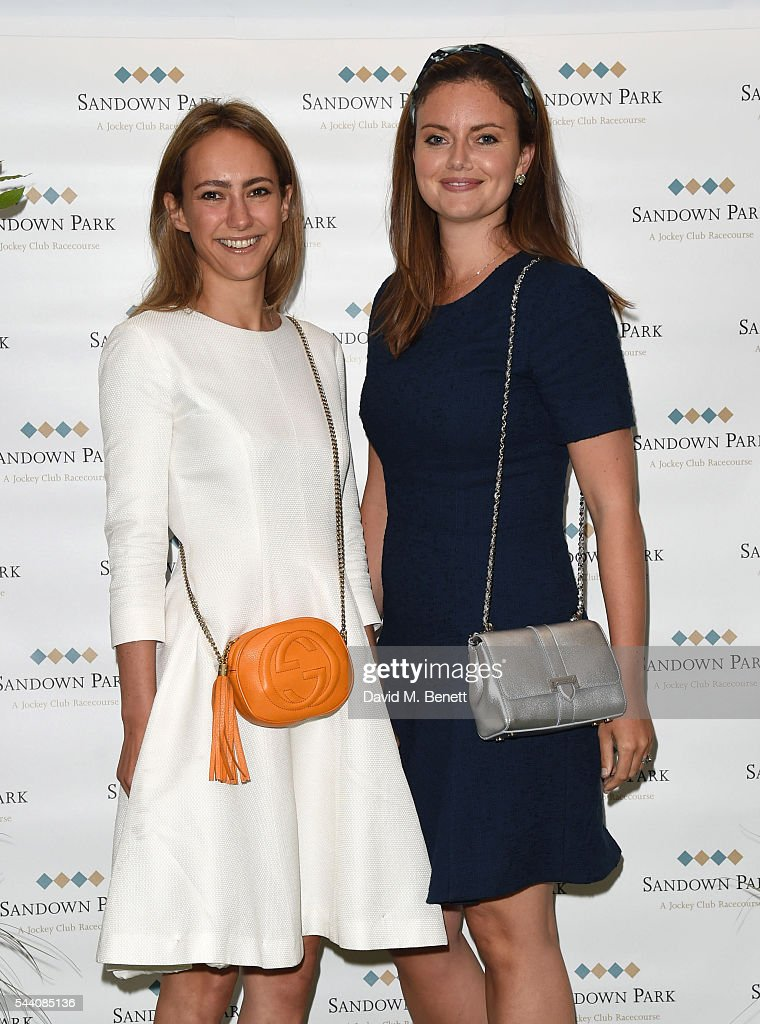 Lavinia Brennan and Lady Natasha Rufus Isaacs attend the Sandown Park Racecourse Ladies' Day STYLE AWARD Hosted by Rosie Fortescue at Sandown Park on July 1, 2016 in Esher, England.