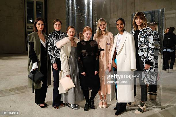 Lavinia Wilson Fritzi Haberlandt designer Malaika Raiss Mandy Bork Sara Nuru and Eva Padberg attend the Malaikaraiss defile during the Der Berliner...