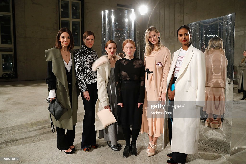 Lavinia Wilson, Fritzi Haberlandt, designer Malaika Raiss, Mandy Bork and Sara Nuru attend the Malaikaraiss defile during the Der Berliner Mode Salon A/W 2017 at Kronprinzenpalais on January 17, 2017 in Berlin, Germany.