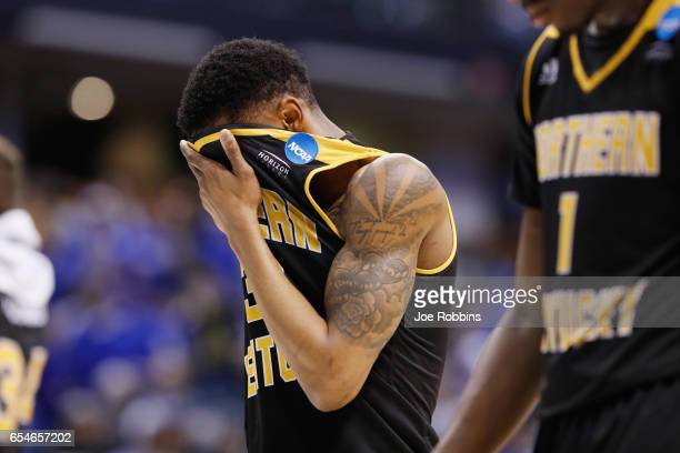 Lavone Holland II of the Northern Kentucky Norse reacts after being defeated by the Kentucky Wildcats 7970 in the first round of the 2017 NCAA Men's...