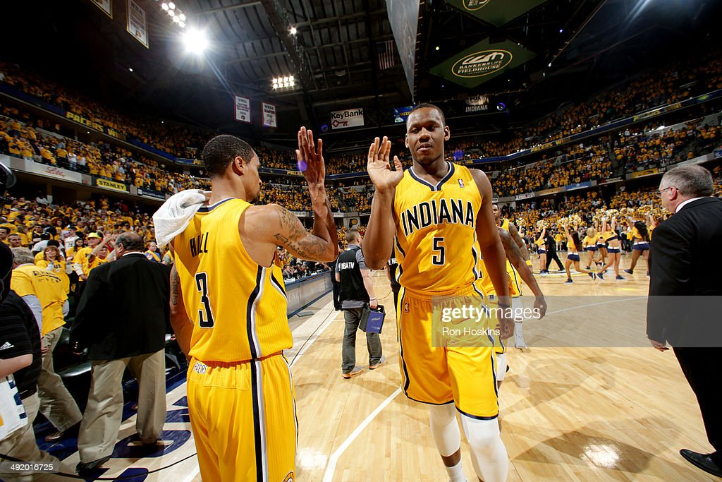 <a gi-track='captionPersonalityLinkClicked' href=/galleries/search?phrase=Lavoy+Allen&family=editorial&specificpeople=4628334 ng-click='$event.stopPropagation()'>Lavoy Allen</a> #5 and George Hill #3 of the Indiana Pacers celebrate after a game against the Miami Heat in game one of the East Conference Finals at Bankers Life Fieldhouse on May 18, 2014 in Indianapolis, Indiana.