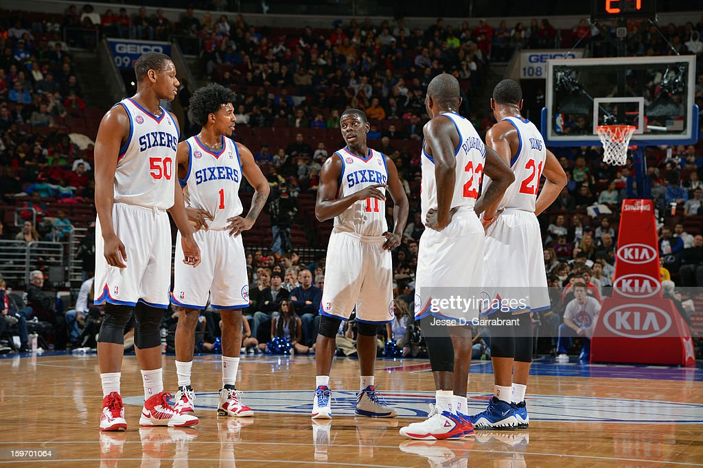 Lavoy Allen #50, Nick Young #1, Jrue Holiday #11, Thaddeus Young #21, and Jason Richardson #23 of the Philadelphia 76ers wait for a decision during the game against the Toronto Raptors at the Wells Fargo Center on January 18, 2013 in Philadelphia, Pennsylvania.