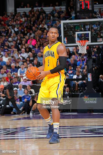 Lavoy Allen of the Indiana Pacers brings the ball up the court against the Sacramento Kings on January 23 2016 at Sleep Train Arena in Sacramento...
