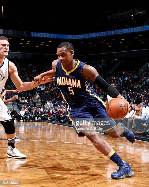 Lavoy Allen of the Indiana Pacers drives to the basket against the Brooklyn Nets during the game on February 3 2016 at Barclays Center in Brooklyn...
