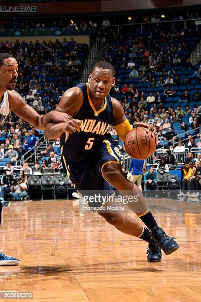 Lavoy Allen of the Indiana Pacers drives to the basket during the game against the Orlando Magic on January 6 2016 at Amway Center in Orlando Florida...