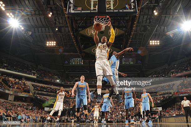 Lavoy Allen of the Indiana Pacers dunks against the Denver Nuggets on January 30 2016 at Bankers Life Fieldhouse in Indianapolis Indiana NOTE TO USER...