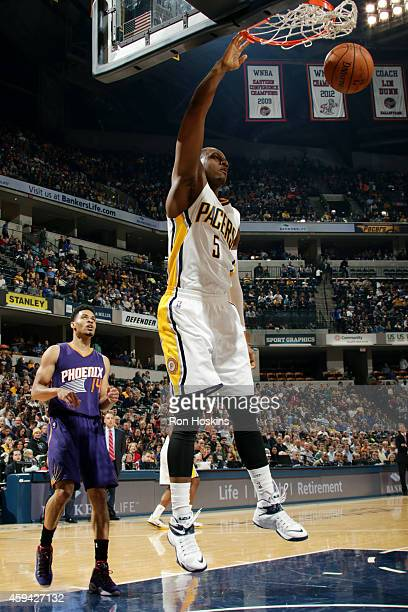 Lavoy Allen of the Indiana Pacers dunks against the Phoenix Suns on November 22 2014 at Bankers Life Fieldhouse in Indianapolis Indiana NOTE TO USER...