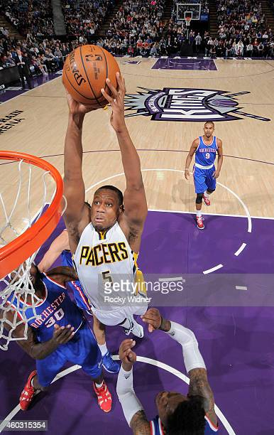 Lavoy Allen of the Indiana Pacers dunks against the Sacramento Kings on December 5 2014 at Sleep Train Arena in Sacramento California NOTE TO USER...