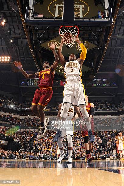 Lavoy Allen of the Indiana Pacers dunks the ball during the game against the Cleveland Cavaliers on February 1 2016 at Bankers Life Fieldhouse in...