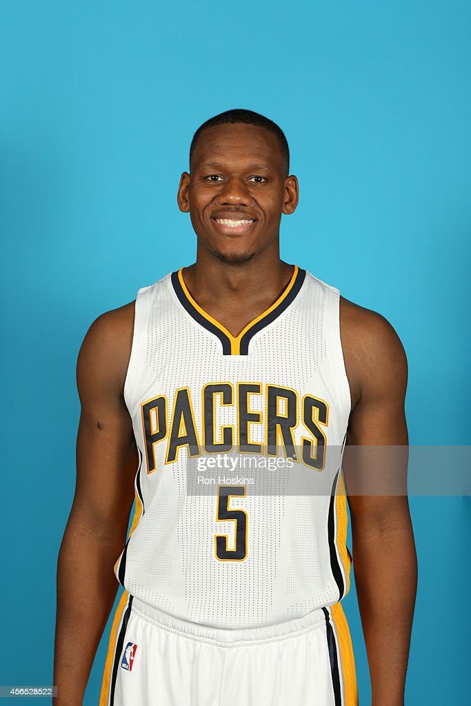 <a gi-track='captionPersonalityLinkClicked' href=/galleries/search?phrase=Lavoy+Allen&family=editorial&specificpeople=4628334 ng-click='$event.stopPropagation()'>Lavoy Allen</a> #5 of the Indiana Pacers during the Pacers media day at Bankers Life Fieldhouse on September 29, 2014 in Indianapolis, Indiana.