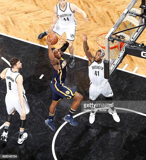 Lavoy Allen of the Indiana Pacers goes for the layup against the Brooklyn Nets during the game on February 3 2016 at Barclays Center in Brooklyn New...