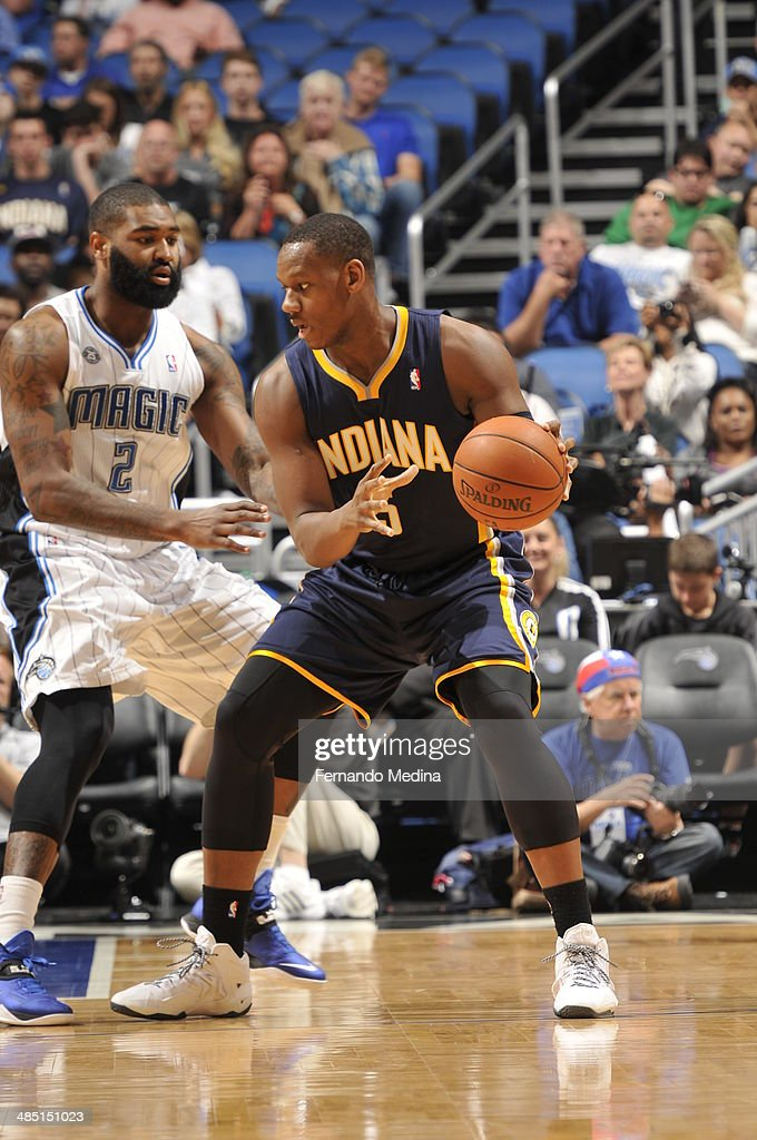 <a gi-track='captionPersonalityLinkClicked' href=/galleries/search?phrase=Lavoy+Allen&family=editorial&specificpeople=4628334 ng-click='$event.stopPropagation()'>Lavoy Allen</a> #5 of the Indiana Pacers handles the ball against the Orlando Magic on April 16, 2014 at Amway Center in Orlando, Florida.