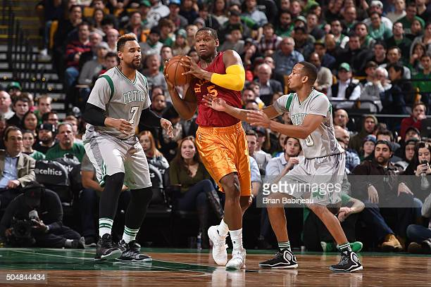 Lavoy Allen of the Indiana Pacers handles the ball during the game against the Boston Celtics on January 13 2016 at TD Garden in Boston Massachusetts...