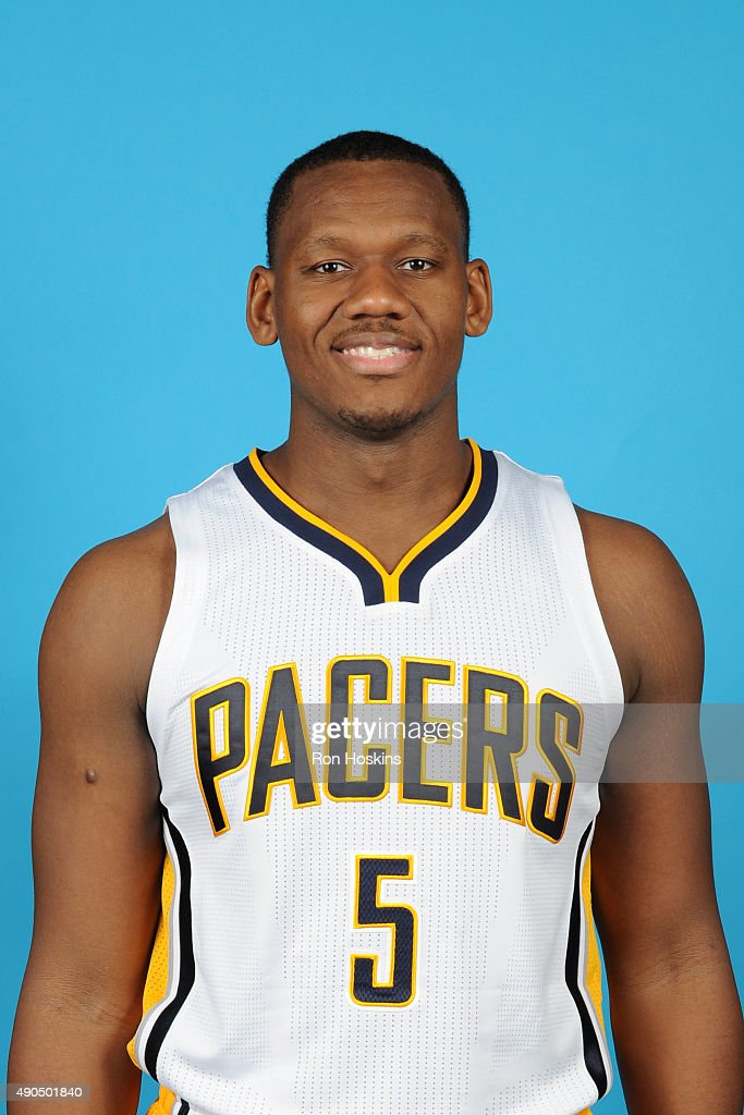 <a gi-track='captionPersonalityLinkClicked' href=/galleries/search?phrase=Lavoy+Allen&family=editorial&specificpeople=4628334 ng-click='$event.stopPropagation()'>Lavoy Allen</a> #5 of the Indiana Pacers poses for a head shot during the Indiana Pacers media day at Bankers Life Fieldhouse on September 28, 2015 in Indianapolis, Indiana.
