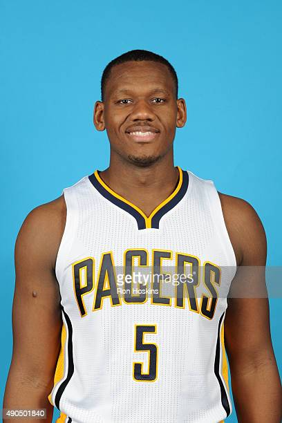 Lavoy Allen of the Indiana Pacers poses for a head shot during the Indiana Pacers media day at Bankers Life Fieldhouse on September 28 2015 in...