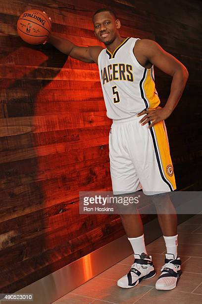 Lavoy Allen of the Indiana Pacers poses for a portrait during the Indiana Pacers media day at Bankers Life Fieldhouse on September 28 2015 in...