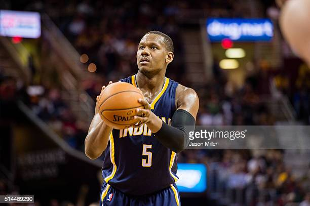 Lavoy Allen of the Indiana Pacers shoot from the free throw line during the first half against the Cleveland Cavaliers at Quicken Loans Arena on...