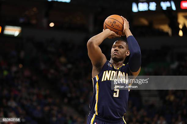 Lavoy Allen of the Indiana Pacers shoots a free throw during a game against the Minnesota Timberwolves on January 26 2017 at Target Center in...
