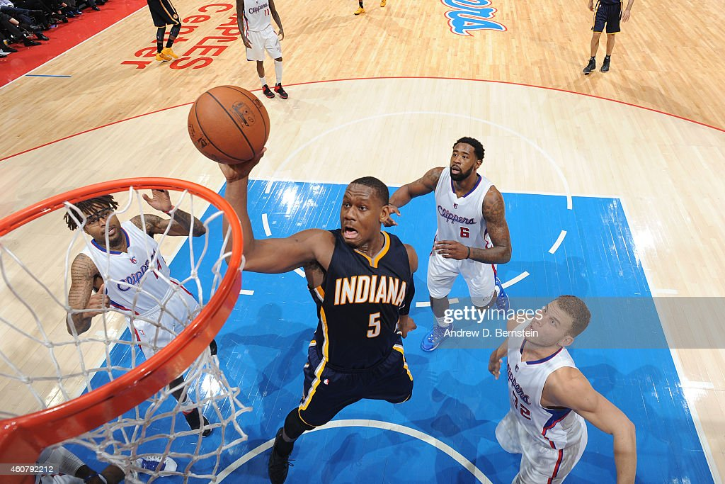<a gi-track='captionPersonalityLinkClicked' href=/galleries/search?phrase=Lavoy+Allen&family=editorial&specificpeople=4628334 ng-click='$event.stopPropagation()'>Lavoy Allen</a> #5 of the Indiana Pacers shoots against the Los Angeles Clippers on December 17, 2014 at STAPLES Center in Los Angeles, California.