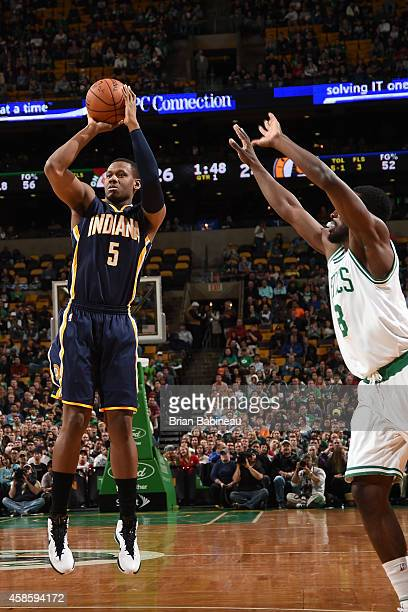 Lavoy Allen of the Indiana Pacers takes a shot against the Boston Celtics on November 7 2014 at the TD Garden in Boston Massachusetts NOTE TO USER...
