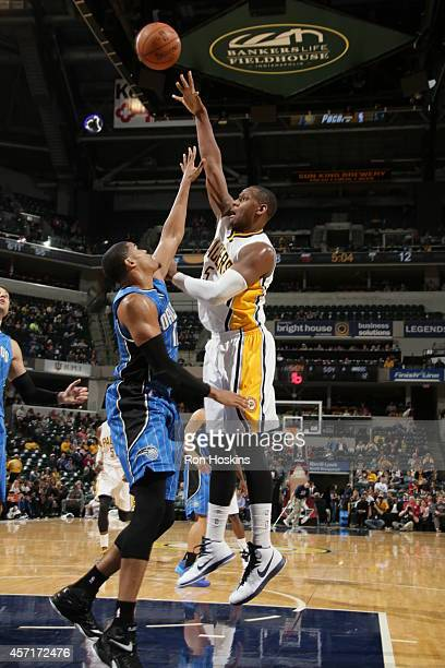 Lavoy Allen of the Indiana Pacers takes a shot during the game against the Orlando Magic at Bankers Life Fieldhouse on October 10 2014 in...