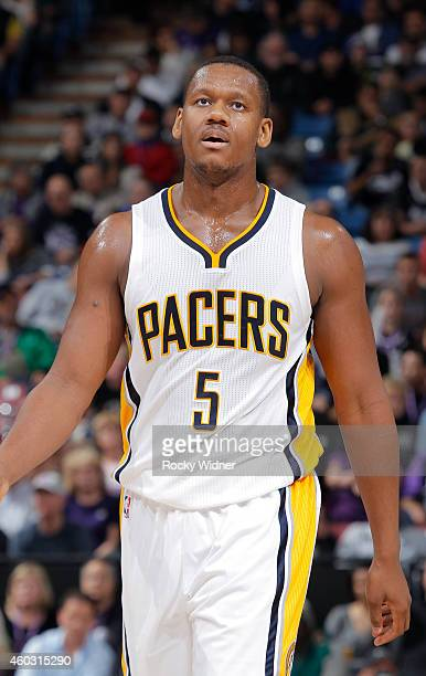 Lavoy Allen of the Indiana Pacers walks on the court against the Sacramento Kings on December 5 2014 at Sleep Train Arena in Sacramento California...