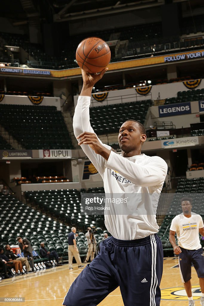 <a gi-track='captionPersonalityLinkClicked' href=/galleries/search?phrase=Lavoy+Allen&family=editorial&specificpeople=4628334 ng-click='$event.stopPropagation()'>Lavoy Allen</a> #5 of the Indiana Pacers warms up before the game against the Los Angeles Lakers on February 8, 2016 at Bankers Life Fieldhouse in Indianapolis, Indiana.