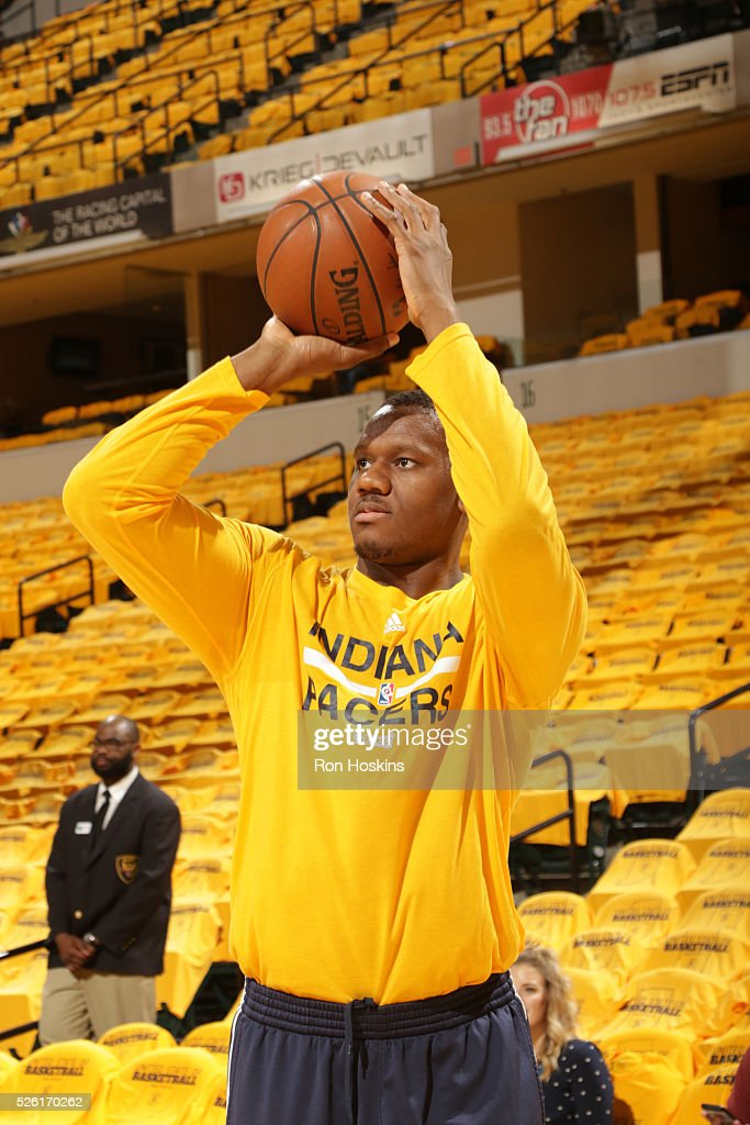 <a gi-track='captionPersonalityLinkClicked' href=/galleries/search?phrase=Lavoy+Allen&family=editorial&specificpeople=4628334 ng-click='$event.stopPropagation()'>Lavoy Allen</a> #5 of the Indiana Pacers warms up before the game against the Toronto Raptors in Game Six of the Eastern Conference Quarterfinals during the 2016 NBA Playoffs on April 29, 2016 at Bankers Life Fieldhouse in Indianapolis, Indiana.