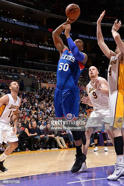 Lavoy Allen of the Philadelphia 76ers attempts a shot during a game against the Los Angeles Lakers at STAPLES Center on December 29 2013 in Los...