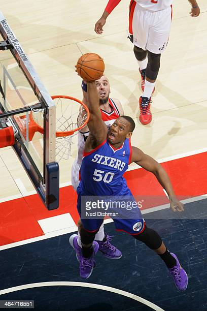 Lavoy Allen of the Philadelphia 76ers dunks against the Washington Wizards at the Verizon Center on January 20 2014 in Washington DC NOTE TO USER...