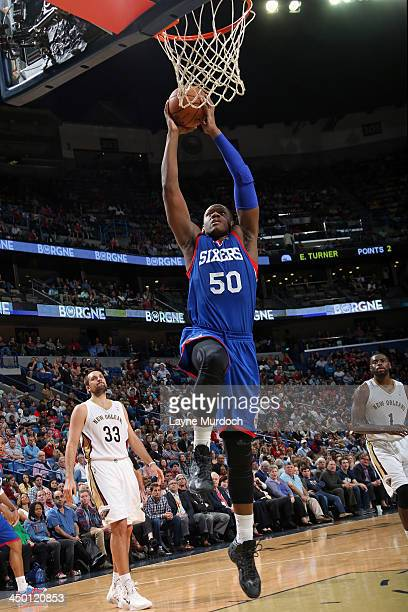 Lavoy Allen of the Philadelphia 76ers dunks the ball against the New Orleans Pelicans on November 16 2013 at the New Orleans Arena in New Orleans...