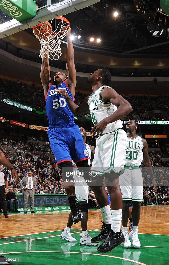 Lavoy Allen #50 of the Philadelphia 76ers dunks the ball vs the Boston Celtics on November 9, 2012 at the TD Garden in Boston, Massachusetts.