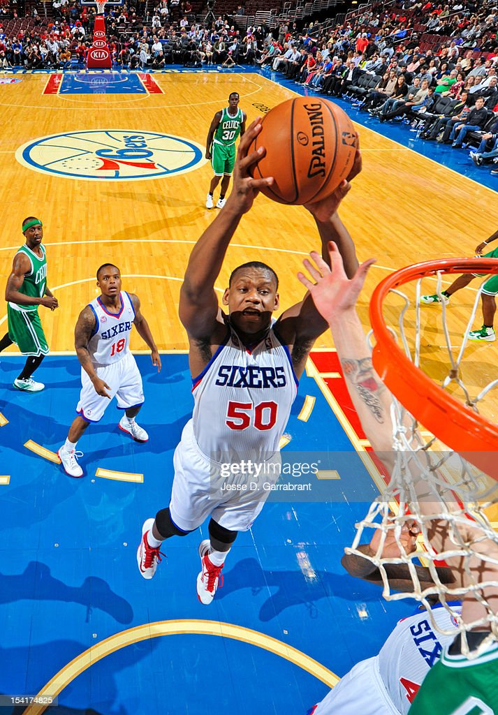 Lavoy Allen #50 of the Philadelphia 76ers goes to the basket against the Boston Celtics during a pre-season game at the Wells Fargo Center on October 15, 2012 in Philadelphia, Pennsylvania.