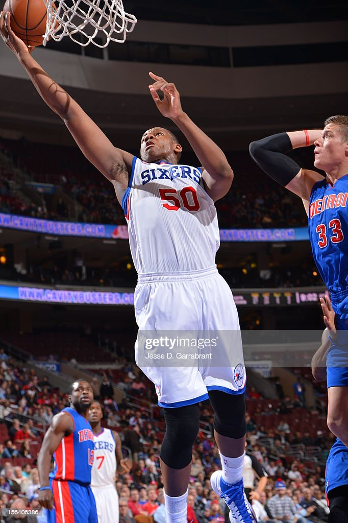 Lavoy Allen #50 of the Philadelphia 76ers goes to the basket during the game between Detroit Pistons and the Philadelphia 76ers at the Wells Fargo Center on November 14, 2012 in Philadelphia, Pennsylvania.