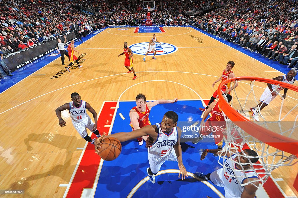 Lavoy Allen #50 of the Philadelphia 76ers grabs a rebound against the Houston Rockets at the Wells Fargo Center on January 12, 2013 in Philadelphia, Pennsylvania.