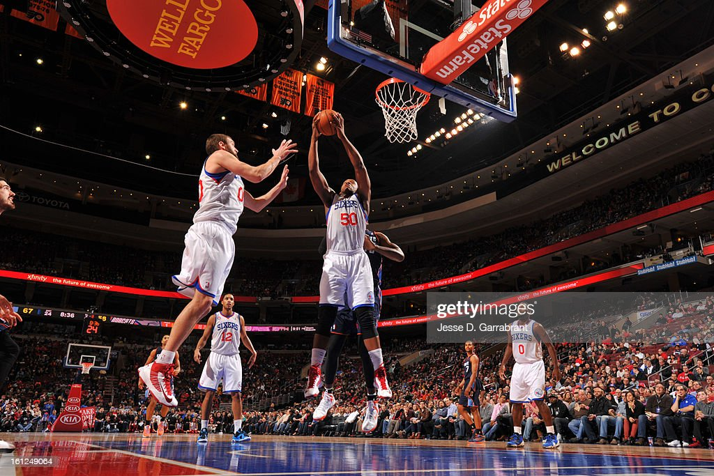 Lavoy Allen #50 of the Philadelphia 76ers grabs a rebound against the Charlotte Bobcats during the game at the Wells Fargo Center on February 9, 2013 in Philadelphia, Pennsylvania.