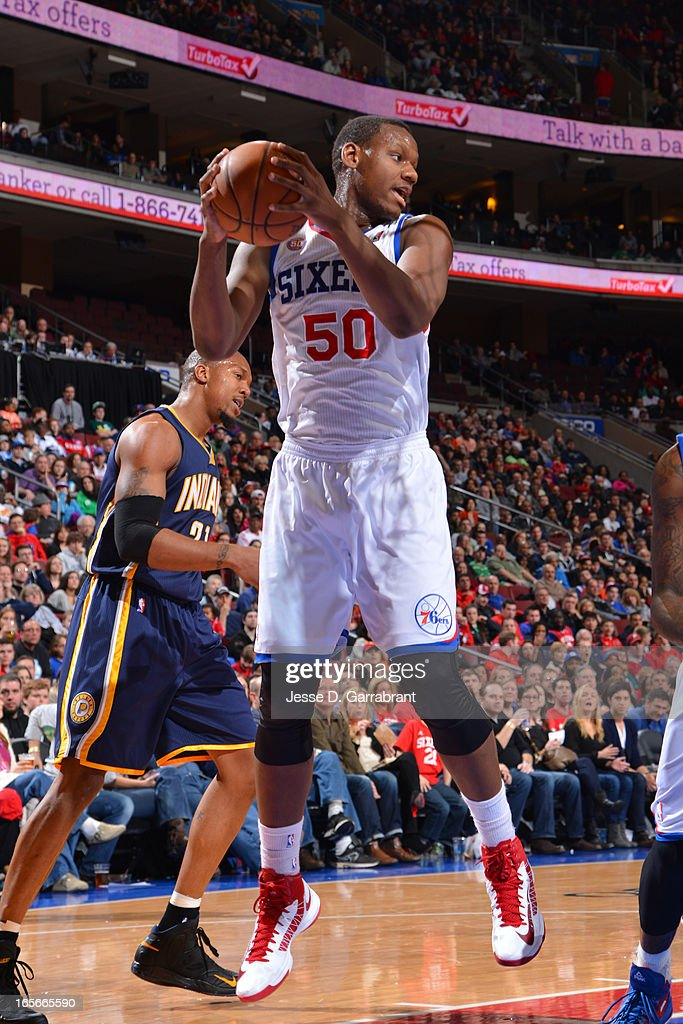 Lavoy Allen #50 of the Philadelphia 76ers grabs a rebound against the Indiana Pacers at the Wells Fargo Center on March 16, 2013 in Philadelphia, Pennsylvania.