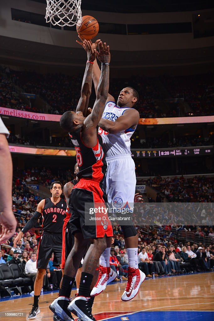 Lavoy Allen #50 of the Philadelphia 76ers puts up a shot against the Toronto Raptors at the Wells Fargo Center on January 18, 2013 in Philadelphia, Pennsylvania.