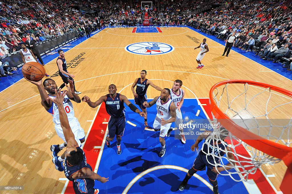 Lavoy Allen #50 of the Philadelphia 76ers puts up a shot against the Charlotte Bobcats at the Wells Fargo Center on February 9, 2013 in Philadelphia, Pennsylvania.