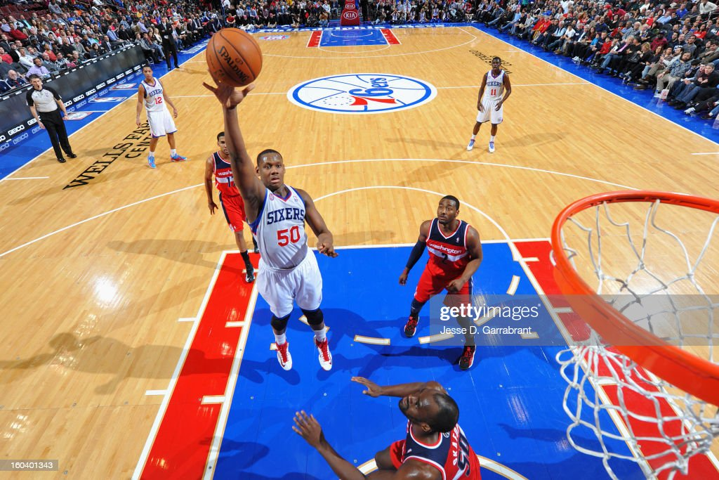 <a gi-track='captionPersonalityLinkClicked' href=/galleries/search?phrase=Lavoy+Allen&family=editorial&specificpeople=4628334 ng-click='$event.stopPropagation()'>Lavoy Allen</a> #50 of the Philadelphia 76ers shoots against the Washington Wizards at the Wells Fargo Center on January 30, 2013 in Philadelphia, Pennsylvania.