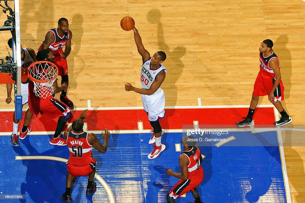 Lavoy Allen #50 of the Philadelphia 76ers shoots against the Washington Wizards at the Wells Fargo Center on January 30, 2013 in Philadelphia, Pennsylvania.