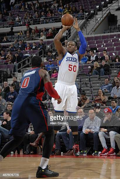 Lavoy Allen of the Philadelphia 76ers shoots the ball against the Detroit Pistons during the game on December 1 2013 at The Palace of Auburn Hills in...