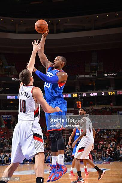Lavoy Allen of the Philadelphia 76ers shoots the ball against the Portland Trailblazers at the Wells Fargo Center on December 14 2013 in Philadelphia...