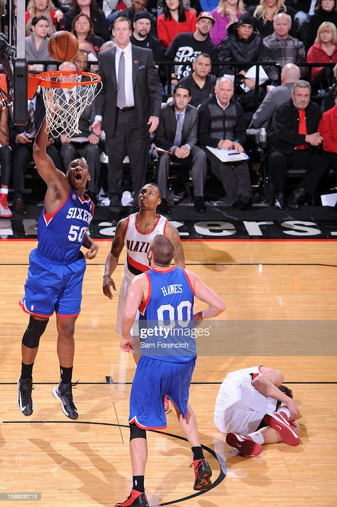 Lavoy Allen #50 of the Philadelphia 76ers shoots the ball to the basket during the game between the Philadelphia 76ers and the Portland Trail Blazers on December 29, 2012 at the Rose Garden Arena in Portland, Oregon.