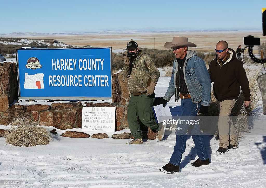 Lavoy Finicum arrives to speak with the media as he and others occupy the Malheur National Wildlife Refuge on January 15 2016 near Burns Oregon The...