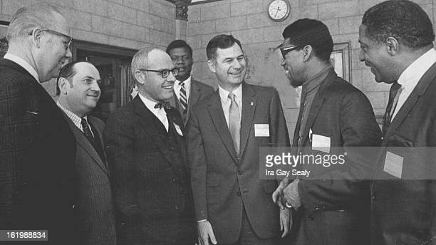 MAR 7 1968 MAR 8 1969 MAR 9 1969 'Law and Justice' Conference Speakers Chat before Opening of Session Saturday on Police and Community From left are...